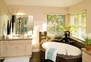 Modern Full Bathroom with Paint, Undermount sink, Bathtub, Framed Partial Panel, double-hung window, Simple Granite, Paint 2