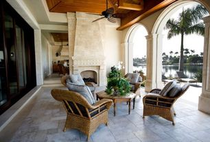Traditional Porch with exterior tile floors, Tortuga outdoor lexington wicker club chair, Screened porch, Outdoor kitchen