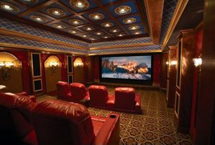 Traditional Home Theater with Box ceiling, High ceiling, Crown molding, Carpet, interior wallpaper, Wall sconce