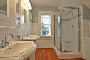Cottage Master Bathroom with CIERRA LARGE PEDESTAL SINK, MS International Whisper White Glazed Handcrafted Ceramic Tile