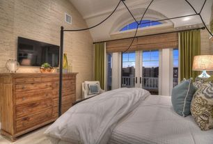 Cottage Master Bedroom with French doors, High ceiling, interior wallpaper, Carpet, Arched window, Transom window