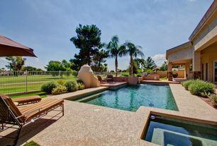 Modern Swimming Pool with French doors, Outdoor kitchen, Pool with hot tub, Fence, exterior tile floors