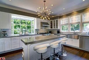 Contemporary Kitchen with Interior HomeScapes - Imogene Large Chandelier, Bay window, Chandelier, Concrete counters