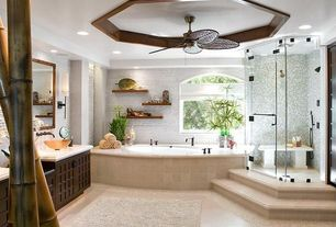 Tropical Master Bathroom with Arched window, frameless showerdoor, Master bathroom, Custom Frameless Shower, Raised shower