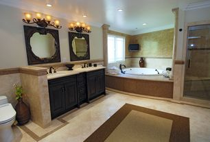 Traditional Master Bathroom with Crown molding, Undermount sink, Double sink, Columns, Crema cappuccino polished 12x12