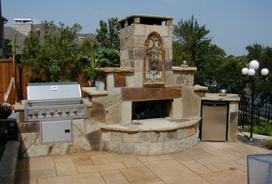 Mediterranean Patio with Outdoor kitchen