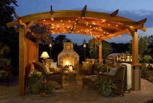 Contemporary Landscape/Yard with Arbor, Bull angus built-in gas grill, Fire pit, Sonoma 12 x 12 ft. Arched Wood Pergola