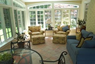 Traditional Living Room with floor to ceiling window, Arched window