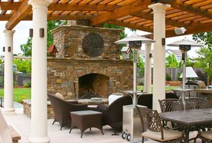 Traditional Patio with Fence, Outdoor kitchen, Trellis