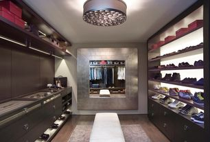 Modern Closet with Built-in bookshelf, Hedge Bright Silver Leaf Square Mirror, Hardwood floors, flush light
