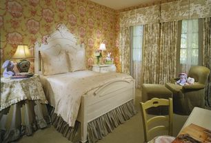 Traditional Guest Bedroom with Carpet, interior wallpaper