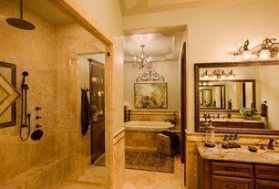 "Mediterranean Master Bathroom with Marazzi Imperial Slate 12"" x 12"" Field Tile in Tan, Paint"
