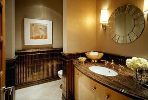 Modern Powder Room with European Cabinets, Complex granite counters, Paint, Undermount sink, Concrete tile , Standard height