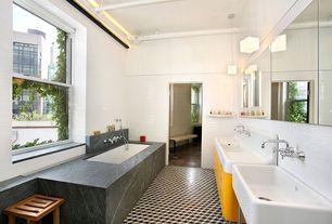 Contemporary Master Bathroom with Paint, Ms international gray soapstone, Terrazzo tiles geometric black encaustic tile