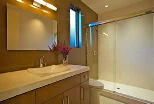 Contemporary 3/4 Bathroom with Standard height, Kohler - demilav wading pool sink, Wall Tiles, frameless showerdoor, Shower