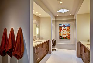 Contemporary Master Bathroom with Flush, Skylight, Simple Marble, Wall sconce, three quarter bath, Undermount sink