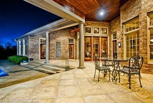 Eclectic Swimming Pool with Wood paneling ceiling, Exterior stone wall, Exterior stone facade