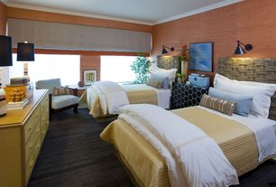 Contemporary Guest Bedroom with Window seat, Carpet, Crown molding