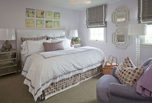 Contemporary Guest Bedroom with flush light, Carpet