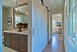 Traditional Hallway with can lights, PentalQuartz - Super White BQ200, Standard height, RusticaHardware - Z Barn Door