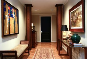 Eclectic Entryway with Carpet, Laminate floors, Standard height, six panel door, can lights