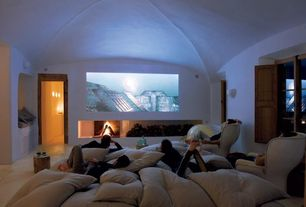 Contemporary Home Theater with Cement fireplace, Wall sconce, Carpet, High ceiling, Natural wood framing, Window seat