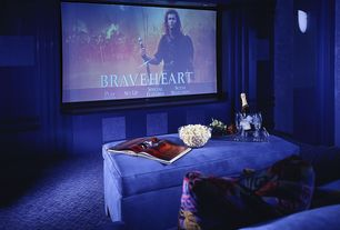 Contemporary Home Theater with Carpet, Wall sconce