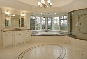 Traditional Master Bathroom with drop in bathtub, frameless showerdoor, Bathtub, Paint, Soapstone counters, Undermount sink