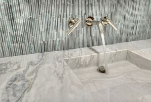 Contemporary Master Bathroom with Oregon tile and marble natural stone slab marble - calacatta michelangelo