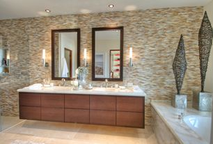 Contemporary Master Bathroom with Shower, Bathtub, European Cabinets, Master bathroom, can lights, interior wallpaper