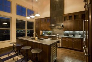 Contemporary Kitchen with L-shaped, Flat panel cabinets, High ceiling, picture window, Simple granite counters, can lights