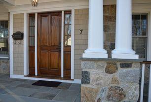 Craftsman Front Door with exterior stone floors