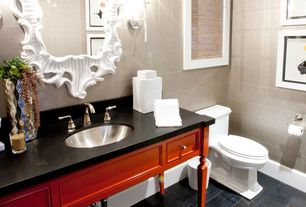 Modern Powder Room with Console sink, Wall sconce, Powder room, Laminate floors, Standard height, Undermount sink, Wall Tiles