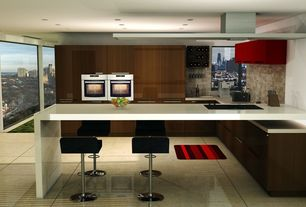 Contemporary Kitchen with Casement, large ceramic tile floors, Simple marble counters, Stone Tile, picture window, can lights