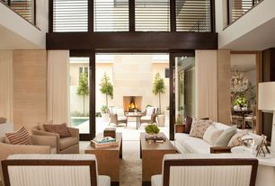 Contemporary Living Room with Portfolio marly barley tan linen barrel arm chair, Thompson wood kitchen bench