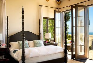 Mediterranean Master Bedroom with French doors, Four poster bed, Bliss Home & Design Ferret Queen Bed