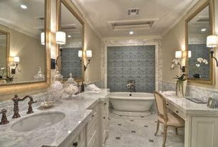 Traditional Master Bathroom with Inset cabinets, Wall sconce, Freestanding, Crown molding, Undermount sink, Complex Marble