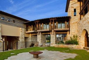 Contemporary Patio with Fire pit, exterior stone floors, French doors, Pathway, Raised beds
