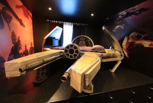 Eclectic Kids Bedroom with can lights, Star wars bed, interior wallpaper, no bedroom feature, complex granite floors