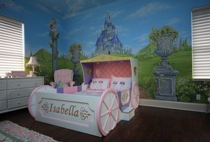 Eclectic Kids Bedroom with Enchanting princess carriage bed, Hardwood floors, Princess Castle Easy Up Mural