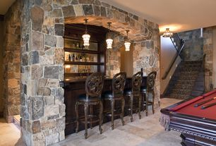 Traditional Bar with Interior stone wall, Hillsdale rosalee swivel counter stool in distressed cherry with copper