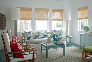 Eclectic Living Room with Homebasics natural woven bamboo burnout cordless roman shade