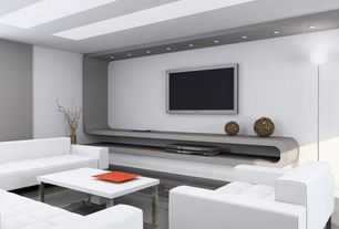 Contemporary Living Room with White tufted leatherette modern living room w/sleeper sofa, Custom lighting, Custom storage