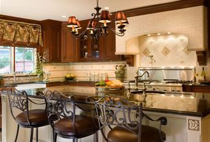 Traditional Kitchen with Breakfast bar, Glass panel, Framed Partial Panel, Standard height, L-shaped, Simple granite counters
