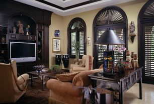 Traditional Family Room with Built-in bookshelf, Black solid stone chinese standing hand carving monk statue wk2729, Paint
