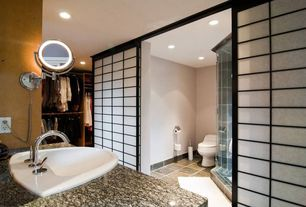 Contemporary Master Bathroom with Paint, Paint 1, Lighted wall-mounted makeup mirror, stone tile floors