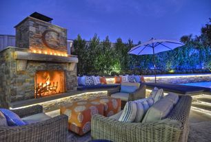Traditional Patio with exterior stone floors, Restoration Hardware Provence Collection, Fence