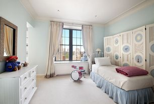 Contemporary Kids Bedroom with Carpet, double-hung window, no bedroom feature, Standard height, Crown molding