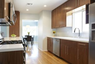 Contemporary Kitchen with Kraftmaid slab - solid (aw) cherry full overlay in chocolate stain finish, Paint
