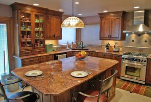 Contemporary Kitchen with Glass panel, gas range, Corner sink, dishwasher, Simple granite counters, Breakfast bar, Wall Hood